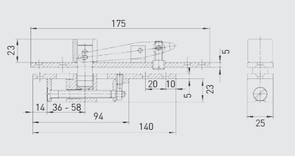 G-6666 GEZE Type C top centre comp for D/A wood and metal